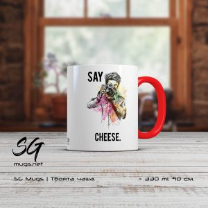 "Чаша с фотограф и надпис ""Say cheese """