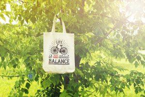 """Памучна еко чанта с надпис """"Life is all about balance"""""""