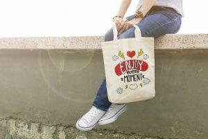 """Памучна еко чанта с надпис """"Enjoy every moment"""""""