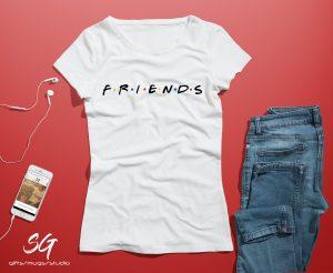 """Тениска с надпис от приятели - """"F.R.I.E.N.D.S"""""""