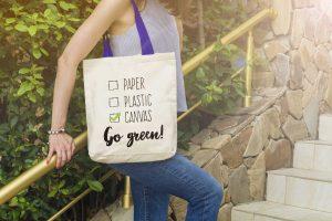 """Памучна еко чанта с надпис """"Go green"""""""