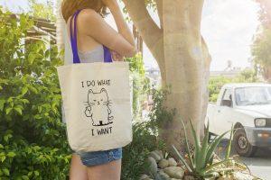"""Памучна еко чанта с надпис """"I do what i want"""""""